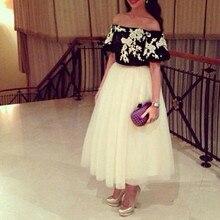Vestidos off shoulder white with black ankle length arabian prom evening dresses 2015