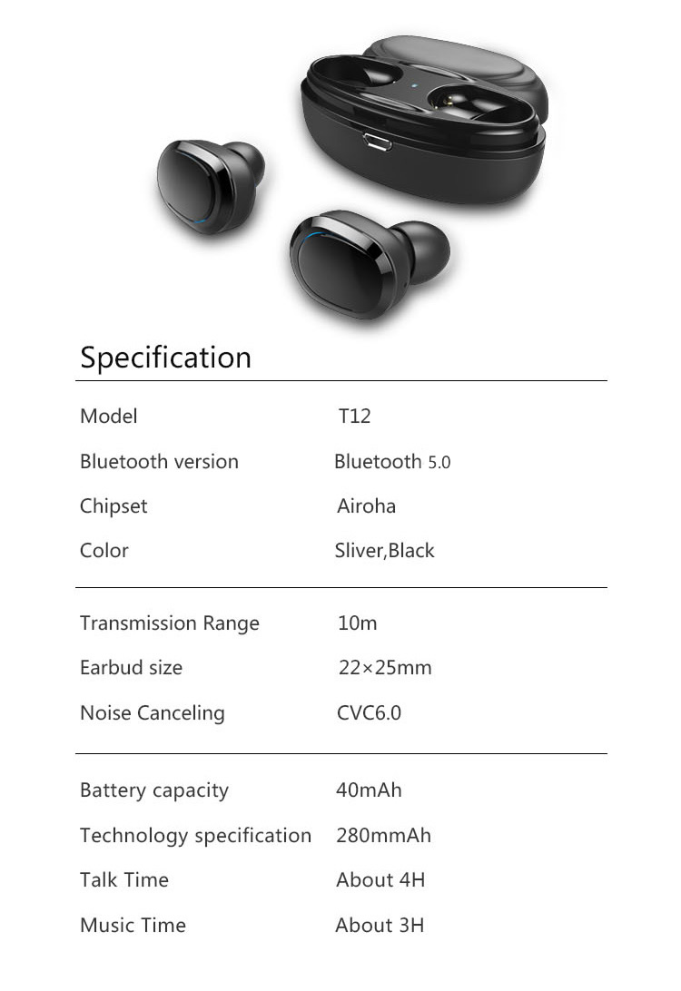 Original T12 Dual TWS True Wireless Bluetooth Headphones In-ear Stereo Music Headsets Invisible Earphone Hands-free Microphone_14