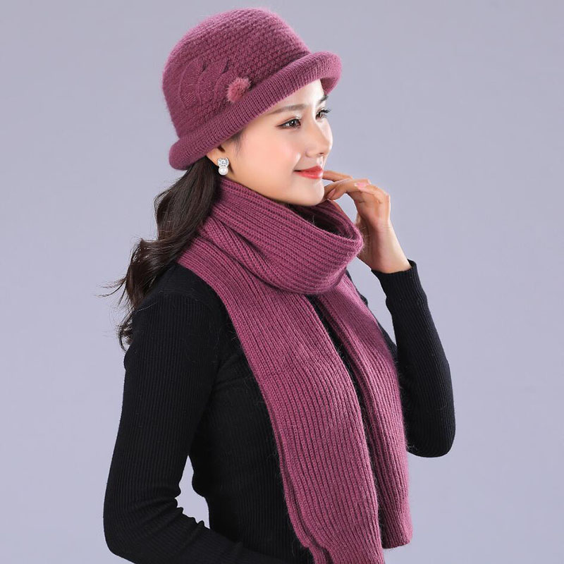 101be0d68be88 SUOGRY Fashion Two-Piece Set Hats Scarf Women Winter New Knitted Hats  Fashion Elegant Casual