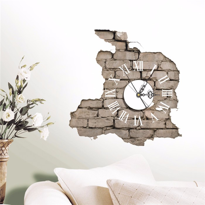 sticker 3d wall clock decals breaking cracking wall sticker home