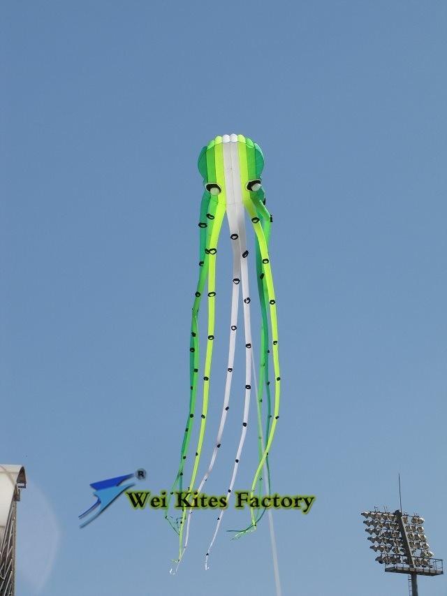 Высокое качество, 23 м, мягкий осьминог, воздушный змей с ручкой, Легко управляемый, спортивный воздушный змей, парапланерское колесо