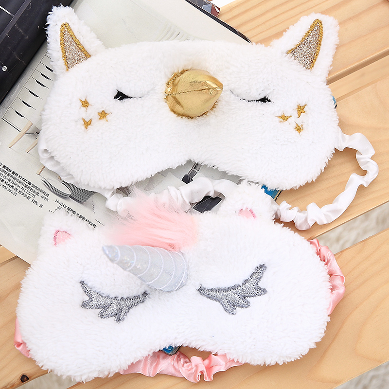 Cartoon 1PCS Mayitr Unicorn Eye Mask Variety Sleep Mask Plush Eye Shade Cover Eyeshade Mask Suitable for Travel Home Plush Gift crown plush eye mask