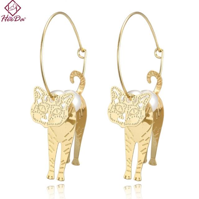 Heeda Creative Animal Gold Color Cat Hoop Earrings Women Fashion