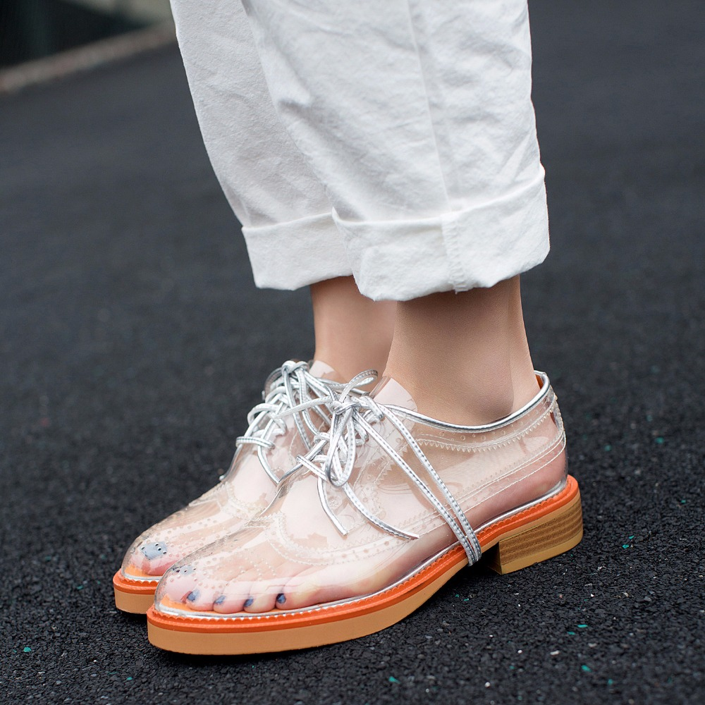 Forro 2018 Planos Verano Tendencia Cuero Grueso Mujeres Simple Zapatos Pvc Sandalias Y Nuevo Transparente Estilo Ocasionales Inferior De q4A7q