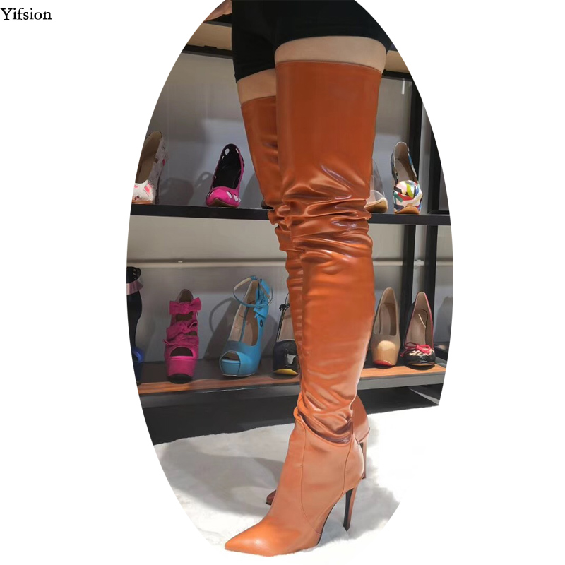 Olomm Stylish Women Spring Over The Knee Boots Thin High Heels Boots Sexy Pointed Toe Coffee