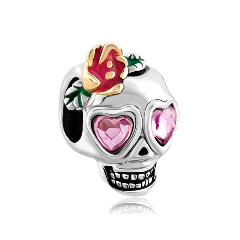 LeoBon New Fashion Heart Rose Pink Crystal Evil Eye Flower Skull Charms Beads Fit Pandora Bracelet