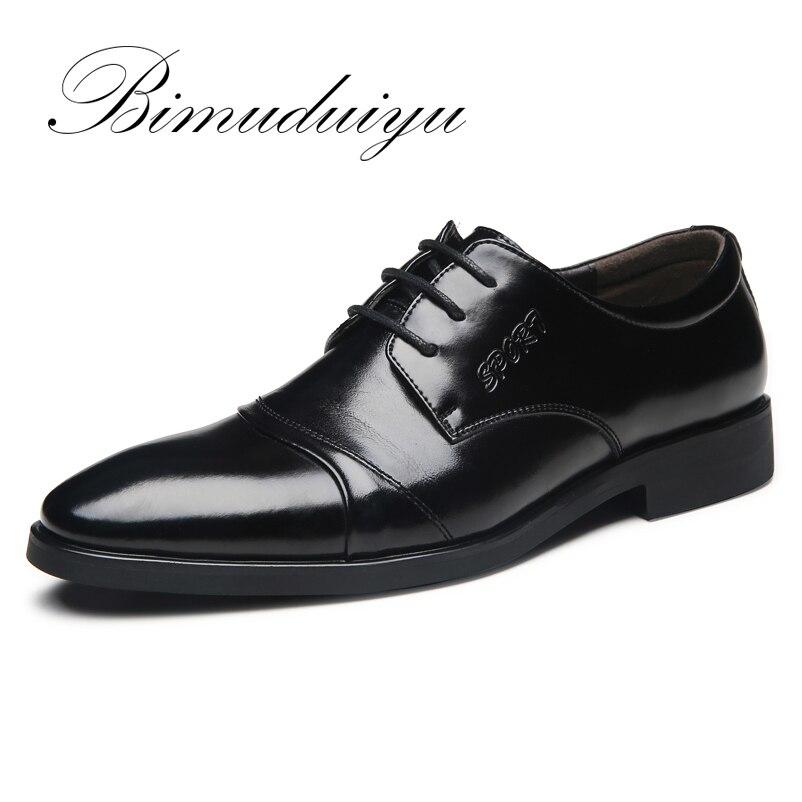 BIMUDUIYU de Marque Grande Taille 6.5-12 Printemps Été Hommes D'affaires Décontractée Chaussures De Base Plat Britannique De Mode De Mariage Robe noir Chaussures