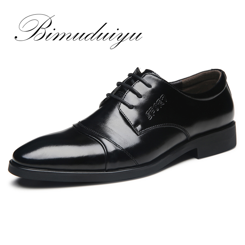 BIMUDUIYU Brand Big Size 6.5-12 Spring Summer Men 's Business Casual Shoes Basic Flat British Fashion Wedding Dress Black Shoes
