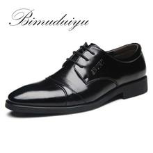 BIMUDUIYU Brand Spring /Summer Men s Business Casual Shoes Basic Flat British Fashion Wedding Dress Black Big Size 5.5-13