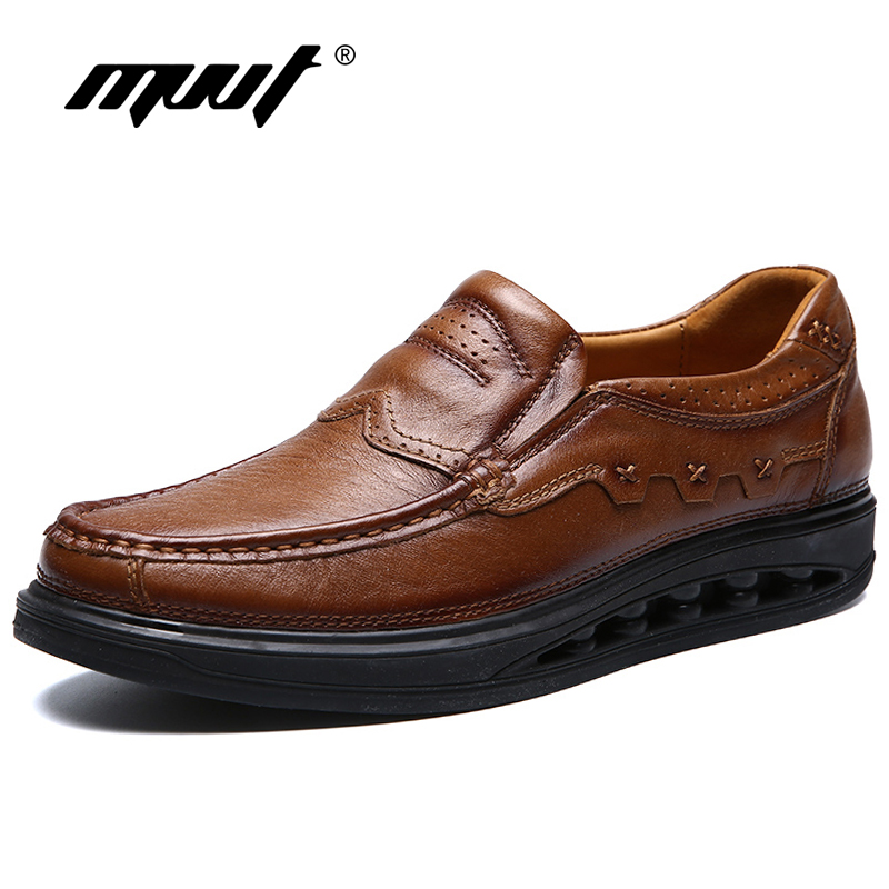 Fashion Genuine Leather Brogue Shoes Men Spring New Dress Shoes Formal Shoes Height Increasing Platform Men Shoes Hot Sale