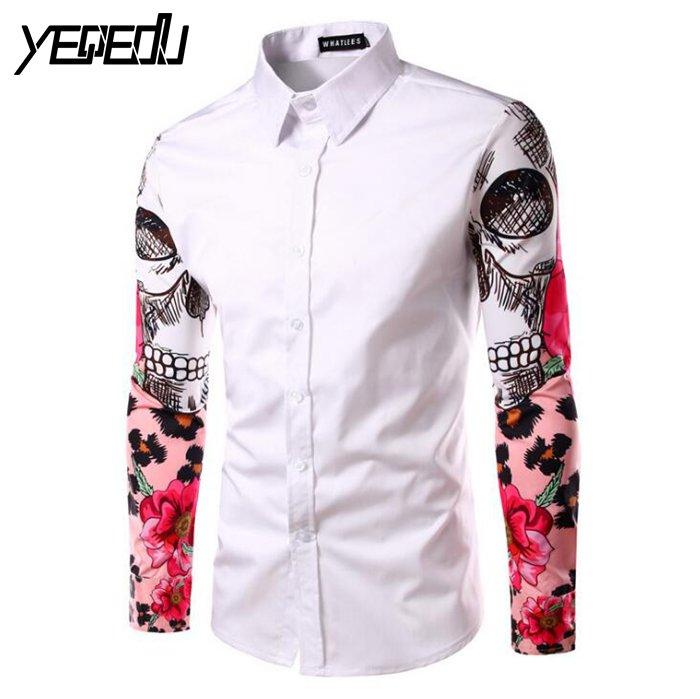 2310 2018 Skull printed Mens dress shirts Fashion White Black Red Brand clothing Chemise homme