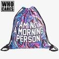 Pessoa da manhã holo 3D impressão 2016 Moda mochila mulheres viajar saco de cordão mini backpack mochilas softback mochila feminina