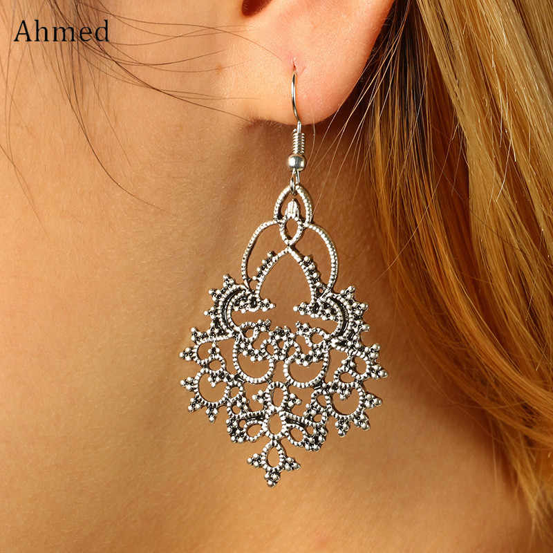 Ahmed Simple Silver Color Snow Flower Pendant Hanging earring 2019 Fashion Retro Vintage Alloy Drop Dangle Earring Wholesale
