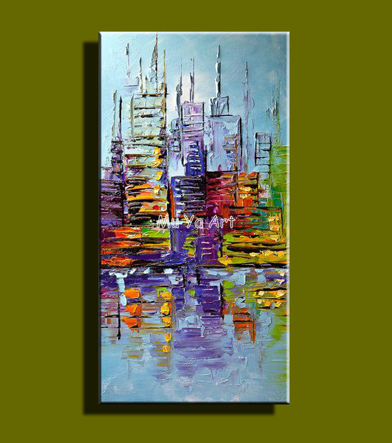 Abstract modern canvas wall colorful famous artwork city font b knife b font oil painting on
