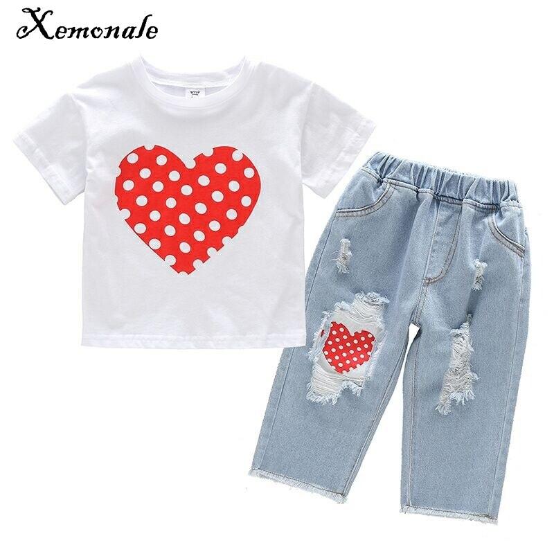 Xemonale costume pour enfants, mode fille été à manches courtes costume 2018 nouvelles filles amour T-shirt + trou Denim Seven Pants.3-8 ans