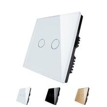 LIVOLO, сенсорный Выключатель, черный и Белый Стекло Сенсорная Панель, 110 ~ 250 В, 2-ган, ВЕЛИКОБРИТАНИЯ стандартный, Сенсорный Выключатель Света со СВЕТОДИОДНЫМ индикатором