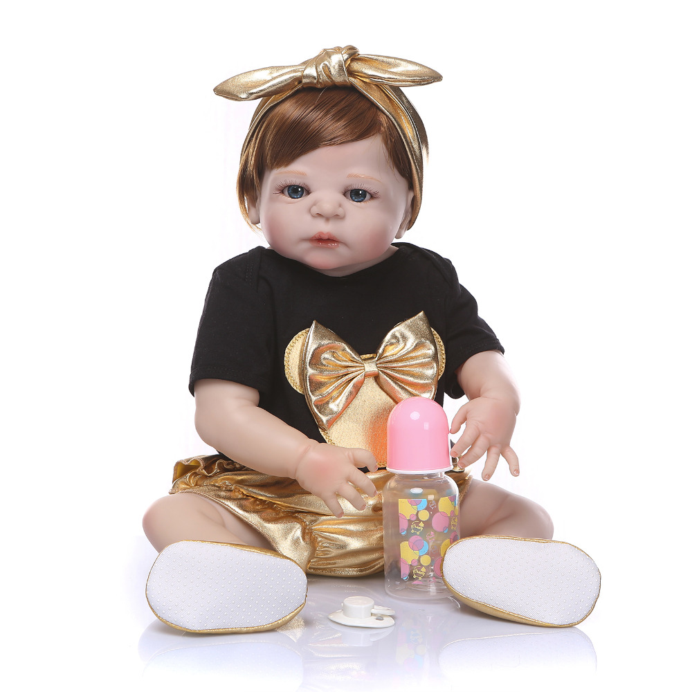 Nicery 22inch 55cm Bebe Reborn Doll Hard Silicone Boy Girl Toy Reborn Baby Doll Gift for Child Golden Headwear Bady Doll