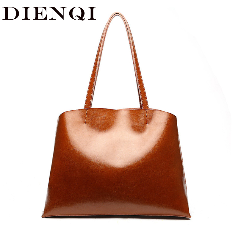 DIENQI Soft Genuine Leather Female Shoulder Bags 2018 Big Capacity Vintage Women Leather Handbags for Party Retro Tote Bags Sac-in Shoulder Bags from Luggage & Bags    1