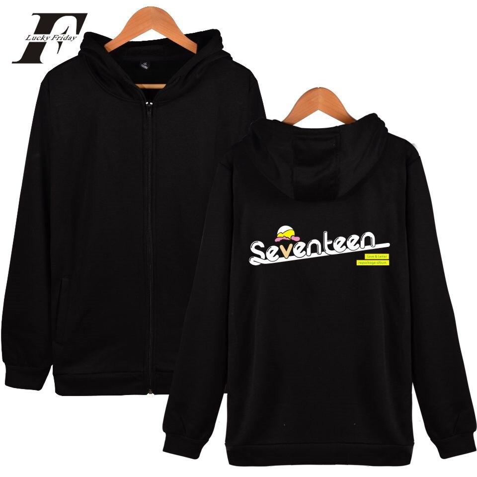 LUCKYFRIDAYF Seventeen 2017 moleton masculino Zipper tracksuit oversized Hoodies sweatshits Men/Women Cap Harajuku Plus Size