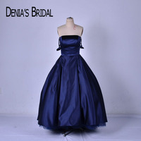 Dark Blue Strapless Evening Dresses A Line Ruched Floor Length Evening Gowns