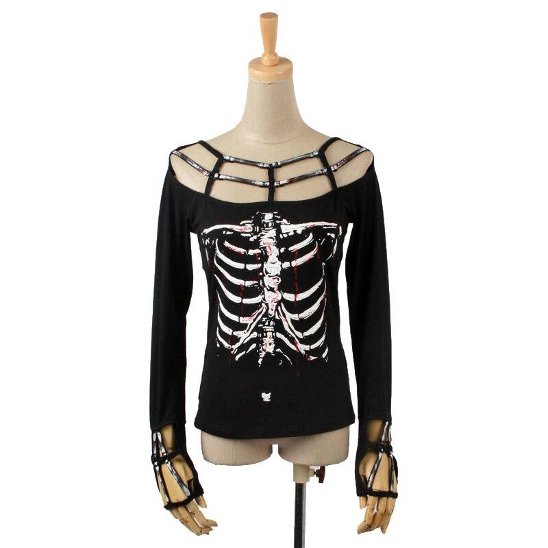 Punk Rock squelette impression chemise femmes mode Vampire Style femmes t-shirt Style décontracté