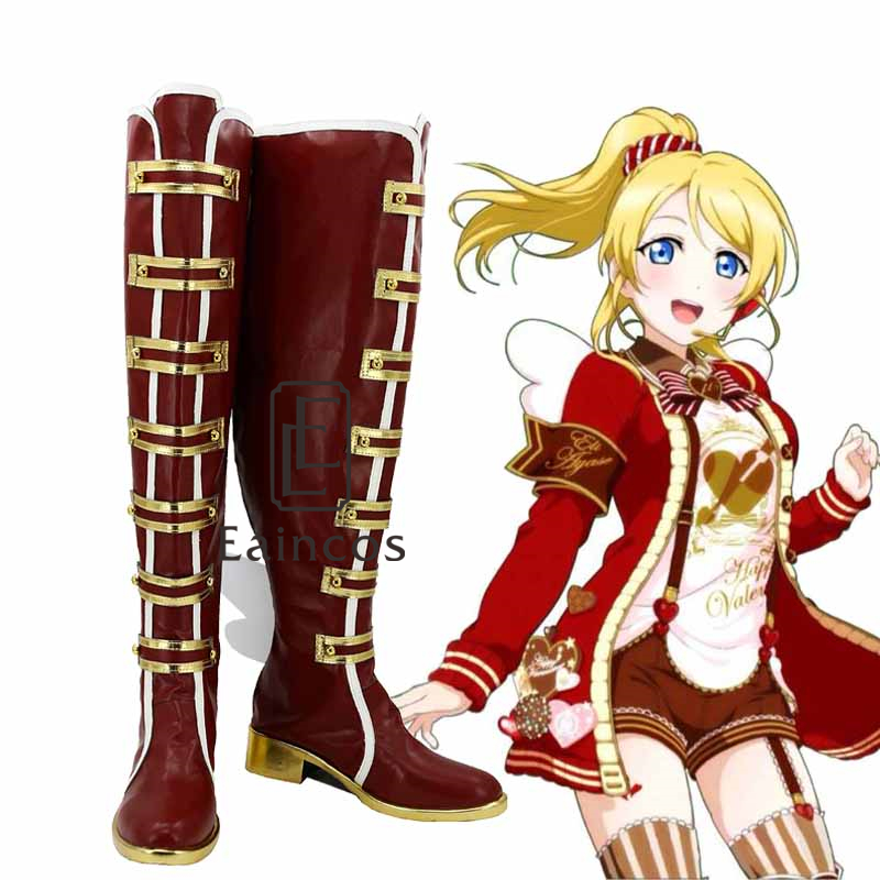 font b Anime b font Love Live Valentine s Day Awaken Red High Boots font