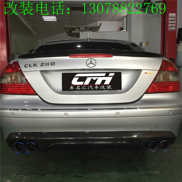 Fit for Mercedes Benz <font><b>W209</b></font> 04-07 CLK280 CLK300 CLK350 carbon fiber four lips rear wing <font><b>spoiler</b></font> tail image