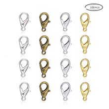 100Pcs Silver Gold 8*12mm Zinc Alloy Claw Lobster Clasp Connector Hook For DIY Bracelets Necklace Chain
