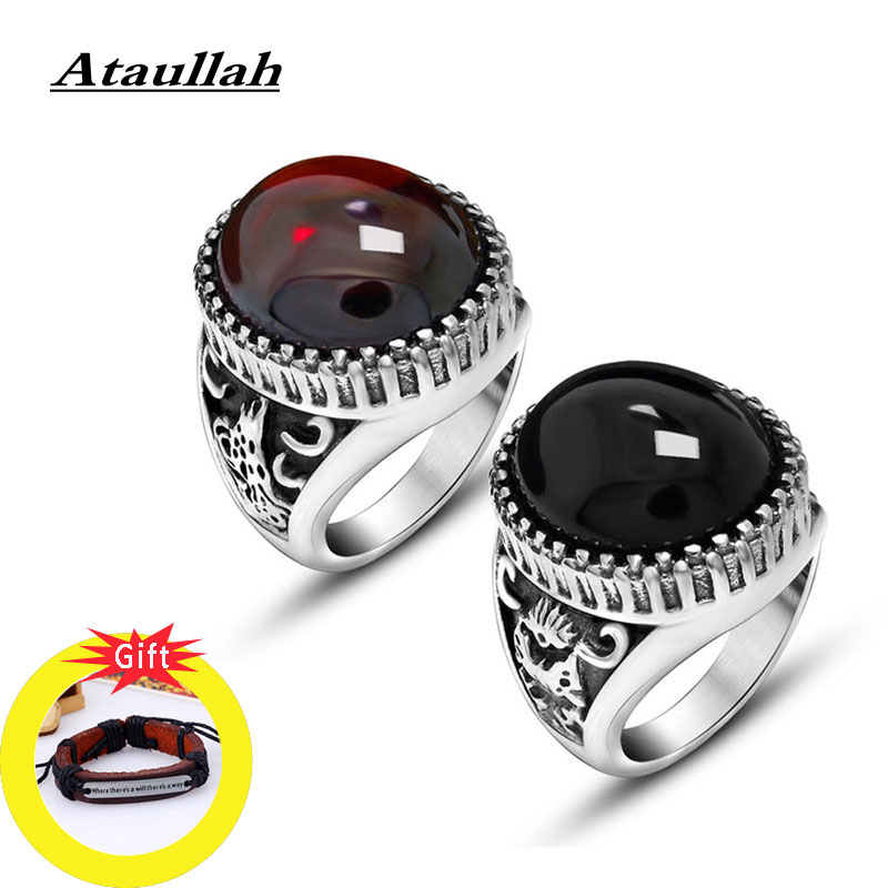 Ataullah Red Black Natural Semistone Stone Ring Setting Antique Silver Finger Rings Vintage Jewelry for Man Women Gift RW042