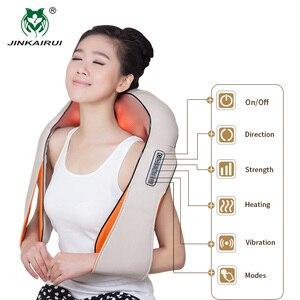 Image 5 - JinKaiRui U şekli masaj elektrik kızılötesi isıtma titreşimli Shiatsu yoğurma geri boyun omuz masaj vücut Massagem