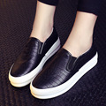 New Women Black Silver Loafers Lady  PU Leather Casual Shoes Woman Flats Slip-on Students Breathable Shoes free shipping