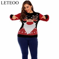 LETEOO Plus Size Women Casual Christmas Printed Sweater Long Sleeve Winter Regular Knitted Costumes Pullover Female