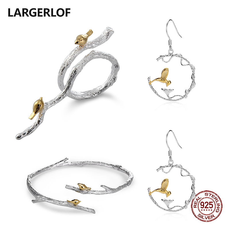 LARGERLOF 925 Sterling Silver Jewelry Set Silver Women 925 Silver Jewelry Handmade Jewelry Sets JS50013 1pc brown leather headphone earphone cable tie cord organizer wrap winder holder