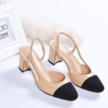 New 2018 summer color matching thick heel shallow hollow sexy heels