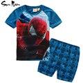 Marvel comic clássico spiderman roupas menino definir a roupa dos miúdos do verão t shirt + shorts da manta de crianças 2-6 anos roupas de treino