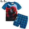 Marvel comic classic spiderman boy clothing set kids clothes summer t shirt + plaid shorts 2-6 year children clothing tracksuit