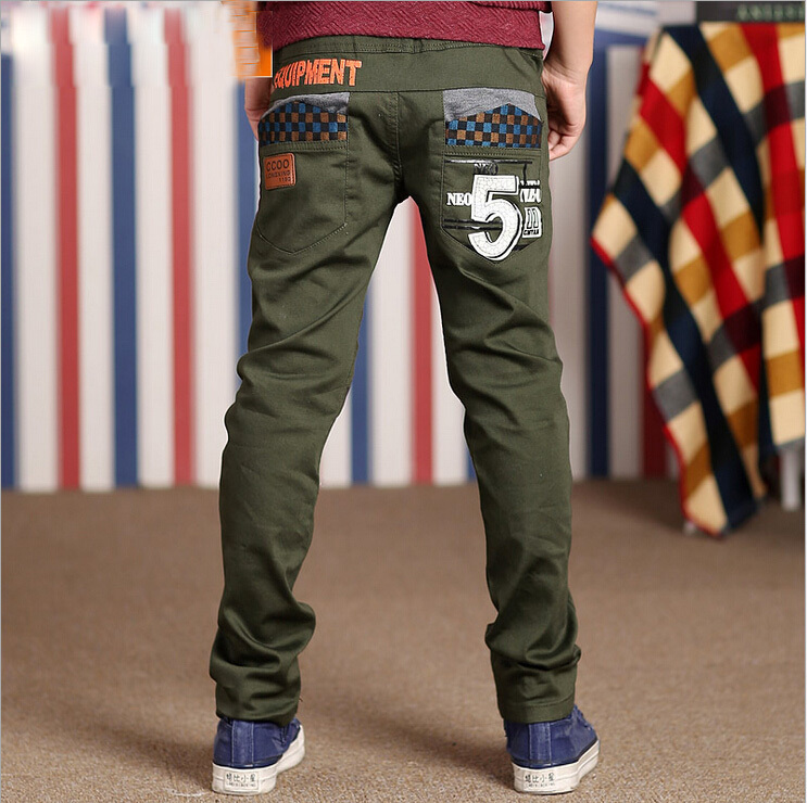 Retail boy new trousers 2015 spring autumn fashion cuhk child joker leisure trousers teenage boys green