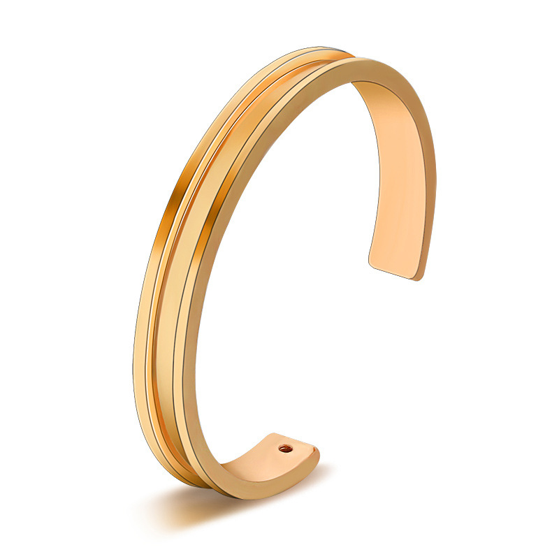 Small Hole on Top Simple Design Silver Golden Opening Bracelets & Bangles for Women