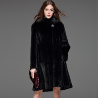 X LONG Women Imitation Mink Fur Trench High Quality Large Size Faux Fur Jacket Hooded Fur Coat Spring New Arrival