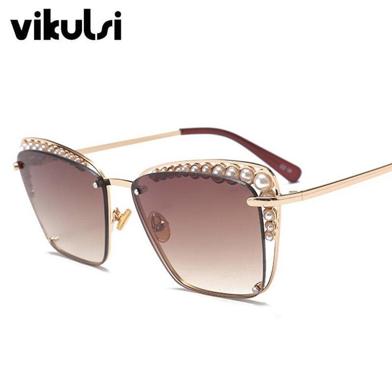 abb29f096b0 2018 Fashion Cat Eye Sunglasses Women Chic Brand Designer Luxury Sunglasses  Lady Pearl Sun Glasses Female Rimless Shades UV400 في 2018 Fashion Cat Eye  ...
