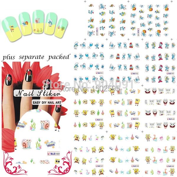 HOTSALE 90 Hoja/lot de Dibujos Animados Bob Esponja Nail Art Sticker agua Tatuajes de Transferencia de Agua pegatinas de uñas de arte empaquetado individualmente