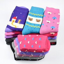 5 Pairs/Lot Women Cotton Terry Loop Socks Winter Thick Warm Ladies Hosiery Fashion Character Design New Soft Female Socks