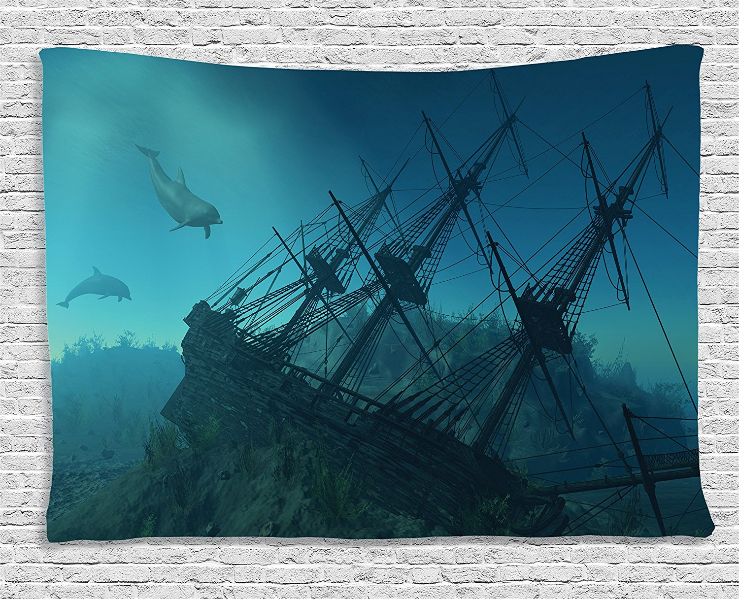 Us 15 11 46 Off Ocean Tapestry Nautical Decor Shipwreck Underwater With Dolphins In Ruins Of Sunken Ship Mystery Treasure Diving Wall Hanging In