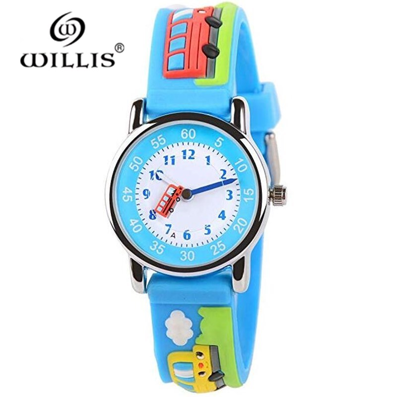 WILLIS Fashion Quartz Children Watch Diversity Cartoon Buses 3D Waterproof Watches Bright Color Stylish Jelly Watches
