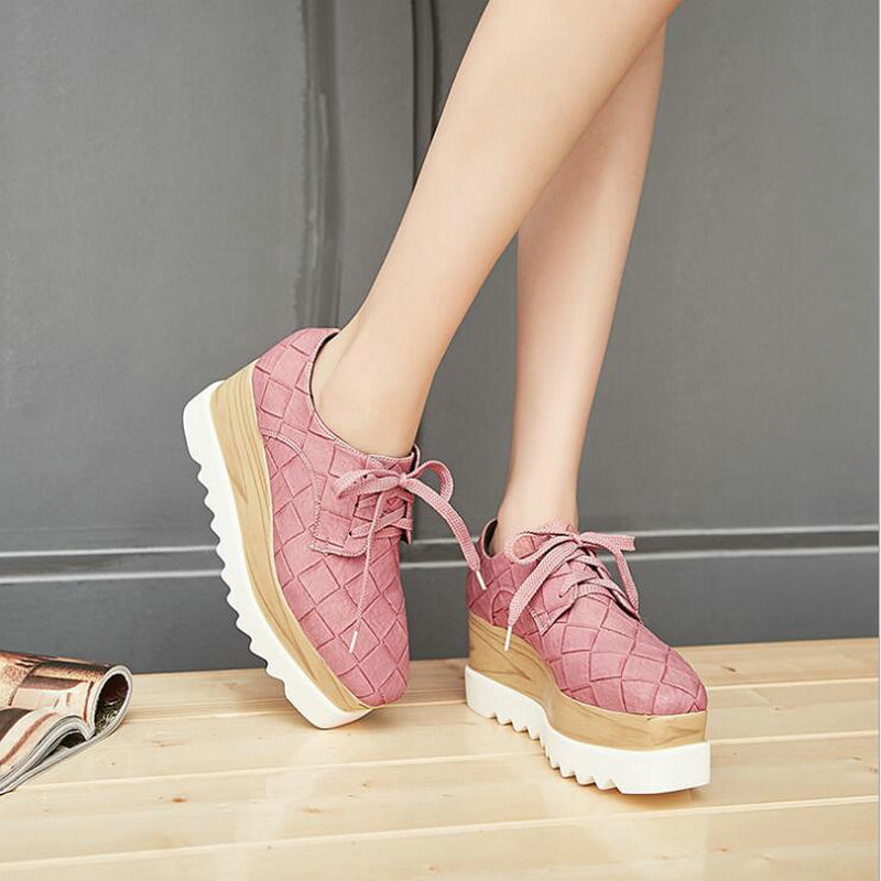 Women High Heels Platform Wedges Low Top PINK Leather Sneakers Shoes / Ladies Thick Heels Chaussure Casual Flats Shoes MS-43