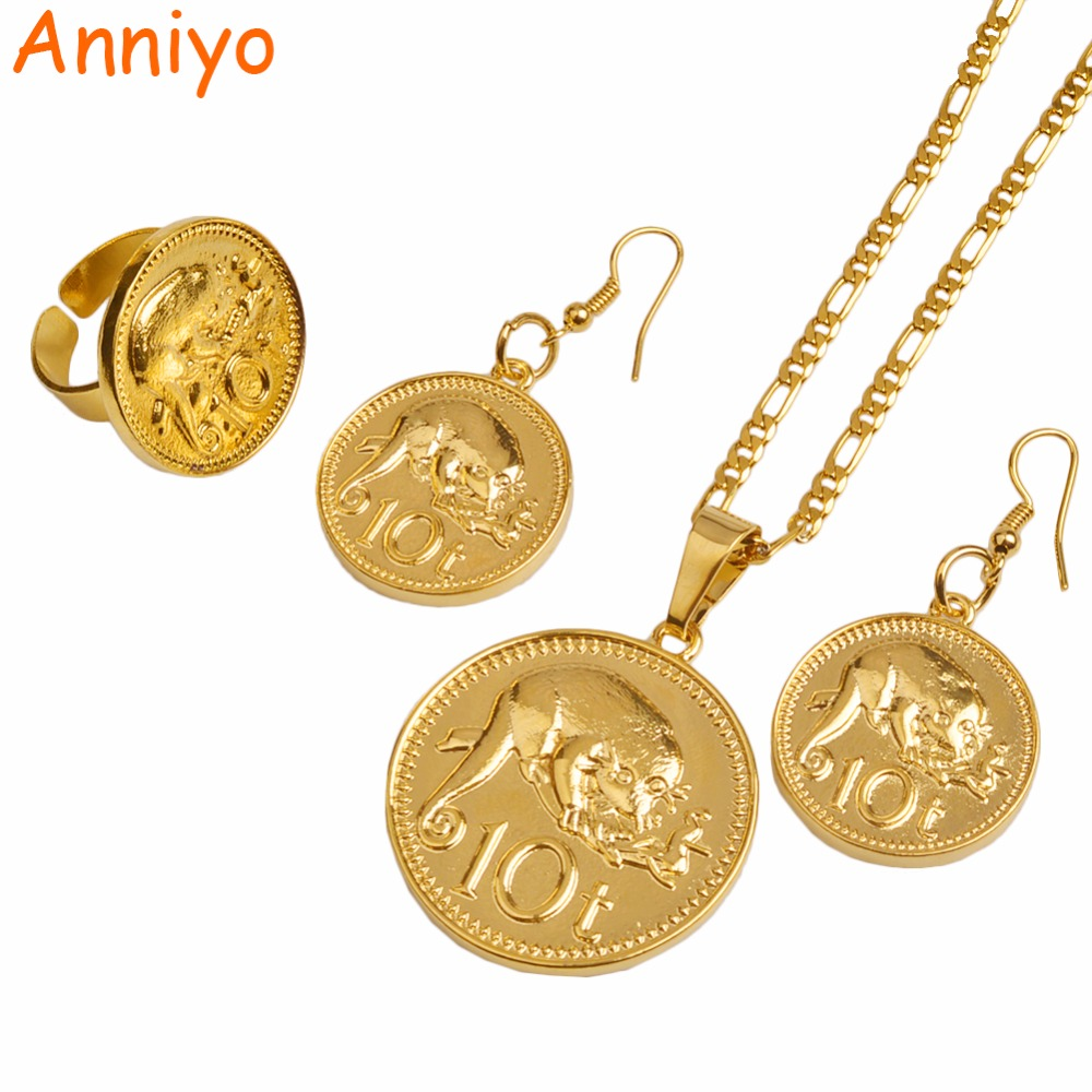 Anniyo Gold Color PNG Coin Pendant/Necklaces/Ring/Earrings for Women,Papua New Guinea Jewellery Style Design #097906