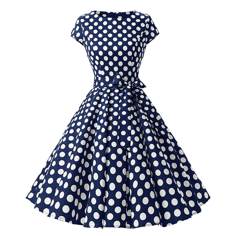 Women 50s 60s Vintage Dress 2018 Summer Polka Dot Cotton With Belt
