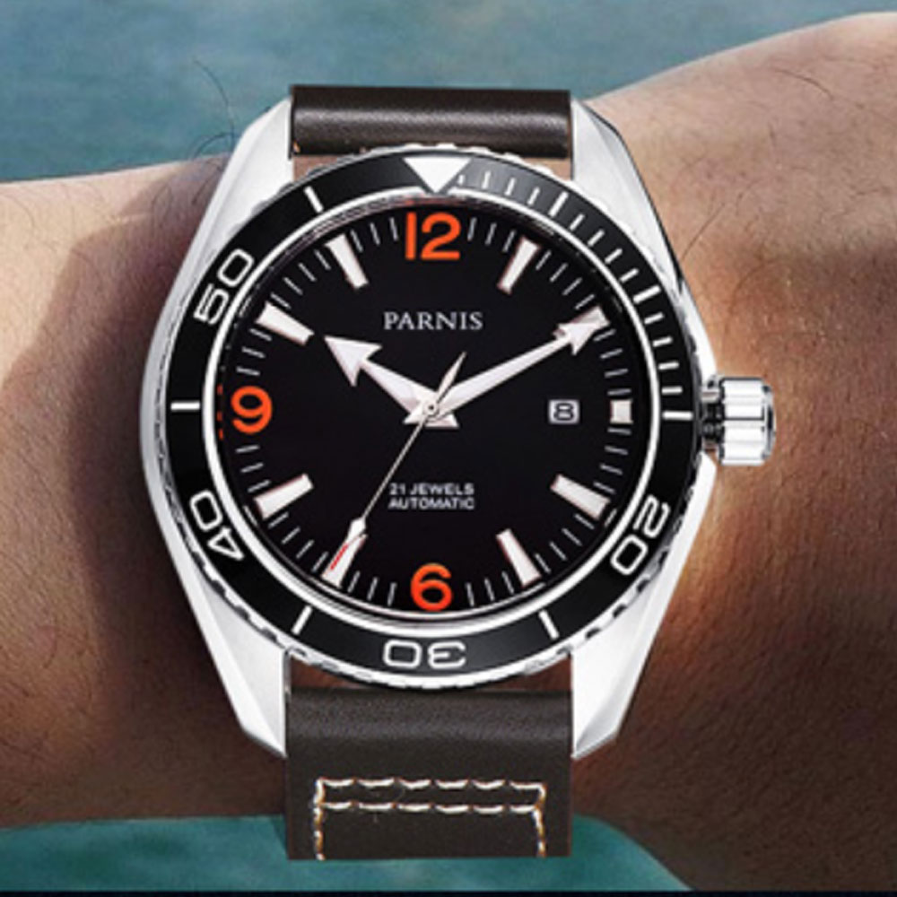 Reloj para hombre con movimiento automático miyota marca de lujo de cristal de zafiro con esfera negra Parnis de 45mm-in Relojes mecánicos from Relojes de pulsera    2