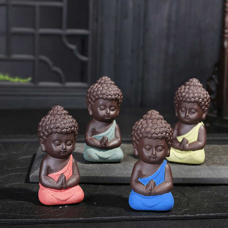 1PCS Mini Chinese Buddhism Zen Monks Buddhism Small Statues Little Meditation Monk Miniature Craft Buddha Statues Clay