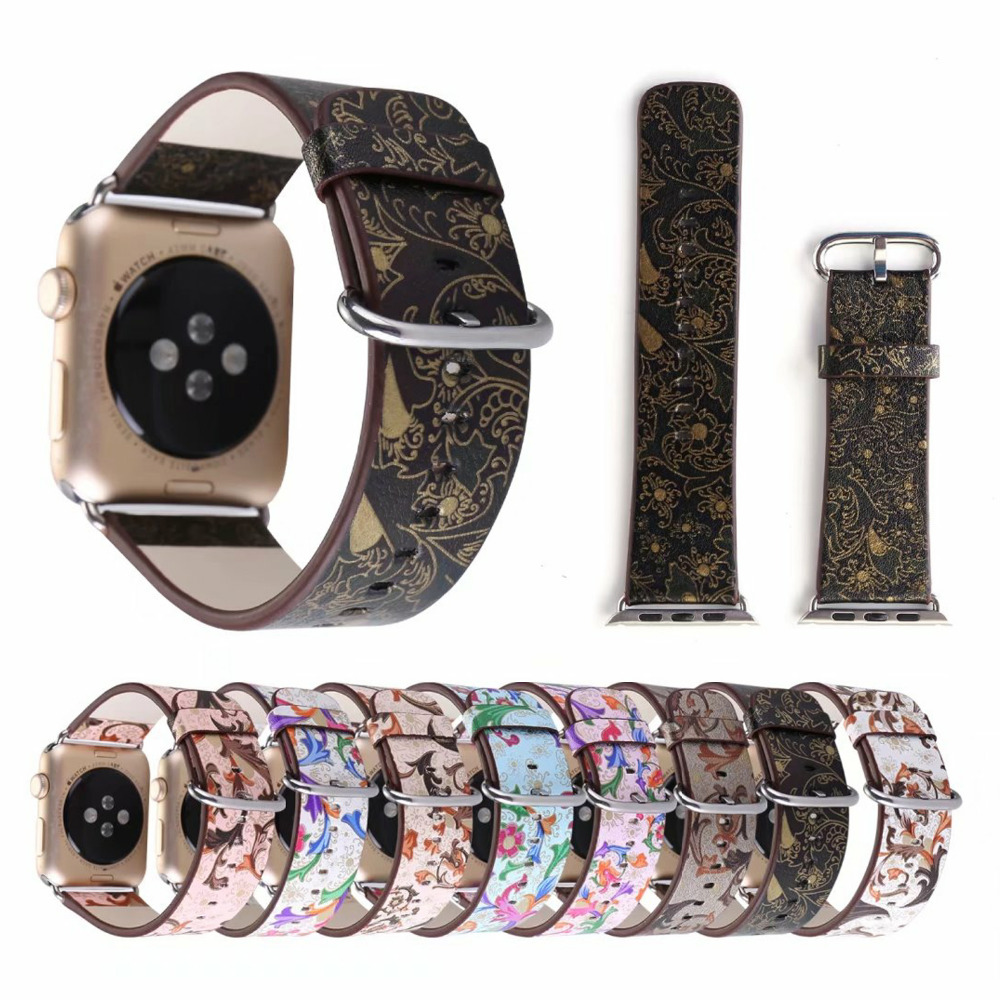 CRESTED leather watch band for apple watch 42mm 38mm Vintage Flower Prints bracelet watch strap for iwatch band 1/2 Edition crested leather cuff bracelets watch band for apple watch hermes bracelet 38mm 42mm
